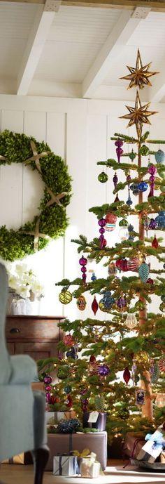 holiday, christmas wreaths, sweet trees, potteri barn, decorated christmas trees, christma tree, cottage christmas, beauti christma, pottery barn