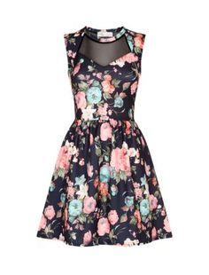 Black Pattern (Black) Cameo Rose Black Scuba Mesh Insert Floral Print Dress   311801009   New Look