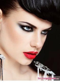 Metallic Eye Makeup with Red Lips