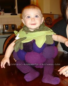 Sweet Homemade Costume for a Baby: Little Baby Grape… Enter the Coolest Halloween Costume Contest at http://ideas.coolest-homemade-costumes.com/submit/
