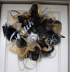 Black and Gold Mesh New Orleans Saints Wreath by GaudyGirlDesigns, $70.00