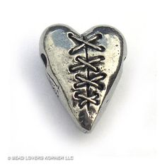 Laced Heart Bead Green Girl Studios Pewter, a mended heart for Valentines?, $8.00