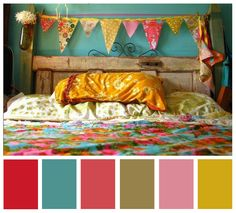 love this color scheme color combo, kids room color palette, colour bedroom, kids scheme colors, bright coloured bedroom, bed room color schemes, grey palette bedroom, room color schemes kids, color schemes for kids rooms