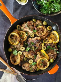 Sautéed Chicken with Olives, Capers and Lemons is ready in 30 minutes in just one pot! foodiecrush.com #recipe #chicken #mediterraneandiet