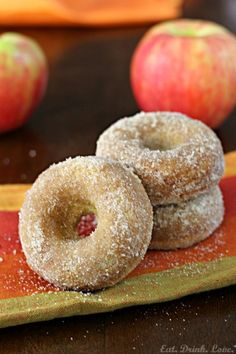 Baked Apple Cider Doughnuts - Delicious and moist baked doughnuts made with apple cider! Perfect for fall!