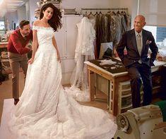 Amal Alamuddin with Oscar de la Renta by Annie Leibovitz for Vogue