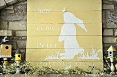 Fox Hollow Cottage: Here Comes Peter Cottontail {Spring Mantel}