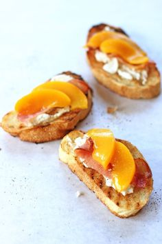 Peach, Bacon and Ricotta Crostini