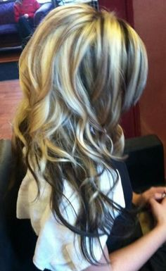 Brown hair with blonde highlights! Pretty much what mine looks like right now!