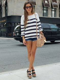 i like the fit and stripes of this.... diff color stripes and black jeggings?