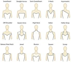 Understanding Gown Necklines. Good to know for all brides shopping for their dream wedding dress… Now you know how to describe what yo...