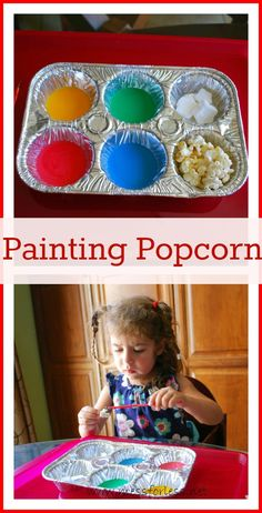 Mess For Less: Painting Popcorn - use milk and food coloring and lets kids create their own snack. #kids #snack #popcorn