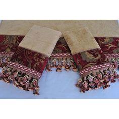 Sherry Kline China Art Red 3-piece Decorative Towel Set