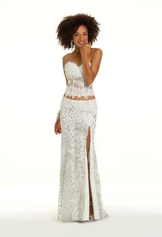 Camille La Vie Two Piece Animal Glitter Prom Dress with Side Slit