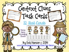 $ This set of 32 task cards are designed to provide students an opportunity to practice using context clues to identify the meaning of unknown words.   In addition to the more traditional recording sheet, there is also a bonus game-like answer sheet! http://www.teacherspayteachers.com/Product/Context-Clues-Task-Cards-32-Cards-includes-game-answer-sheet-1291014