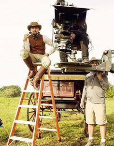 Leo on the set of Django Unchained