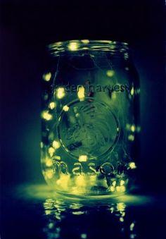 Fireflies in a jar.  That's summer. lights, fireflies, lightning, bugs, childhood memories, summer nights, summer bucket, mason jars, bucket lists