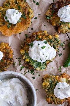 Spinach and Artichoke Corn Fritters with Brie and Sweet Honey Jalapeño Cream | halfbakedharvest.com