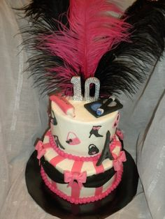 """2 tier Paris themed cake. Bottom tier 8"""" chocolate cake with white chocolate buttercream and top tier 6"""" vanilla cake with vanilla buttercream. Fondant shoes, purses and eiffel tower, with hot pink stripes, black swags and hot pink bows, the top tier has fondant make up, feathers and a bling number 10, all dusted with disco dust!"""