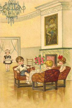 """Tea service"" - Vintage postcard"