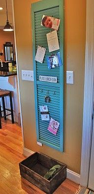 Use an old shutter to create a cute hanging board (great for pics, notes, you name it)  Little clothespins  work great on here to hang your stuff!!