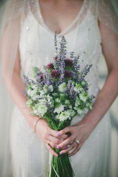 purple and white mountain rustic wedding with photos by Caroline Ghetes | via junebugweddings.com