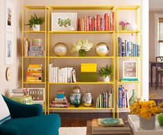 bookshelf styling, bookcases, color design, living rooms, home libraries, colors, daughters room, get the look, open shelving