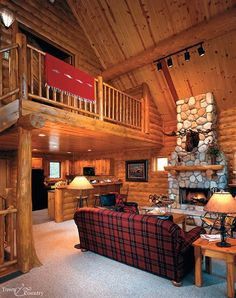 Log cabin interior - I would love to one day live in one or have one for the cold winters!
