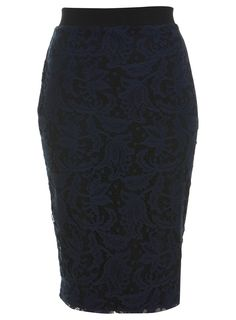 Navy Lace Pencil Skirt $57