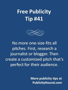 Don't send the same pitch to multiple #journalists, bloggers and contacts. Media audiences are so segmented that your pitch can't possibly appeal to everyone. Research the person you're pitching. This blog post explains how. If you think they'd be interested in your idea, write a pitch that includes a few details to let them know you know about issues that are important to them and their followers. #pitchjournalists #publicitytips #prtips