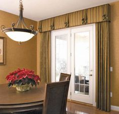 House to home window treatments on pinterest cornice for Formal dining room window treatments