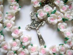 Beautiful Soft Ceramic Rose Beads Rosary