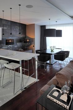 Apartment Design, Apartment Movers Couple Dark Chandelier Laminate Floor White Table And Chairs Dining Idea Geometrix Design Apartment 9: Co...
