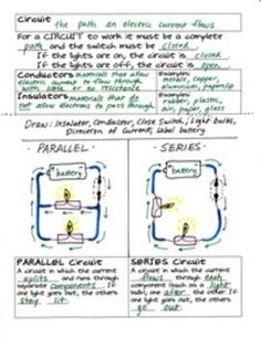 CIRCUITS ( PARALLEL AND SERIES ) FOLDABLE BY SCIENCE DOODLES - TeachersPayTeachers.com