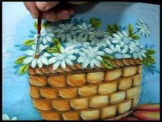 Pintura em Tecido-Cesta de margaridas! Parte 1/2 - YouTube