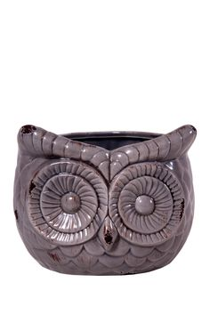 Owl Flower Pot - Antique Gray
