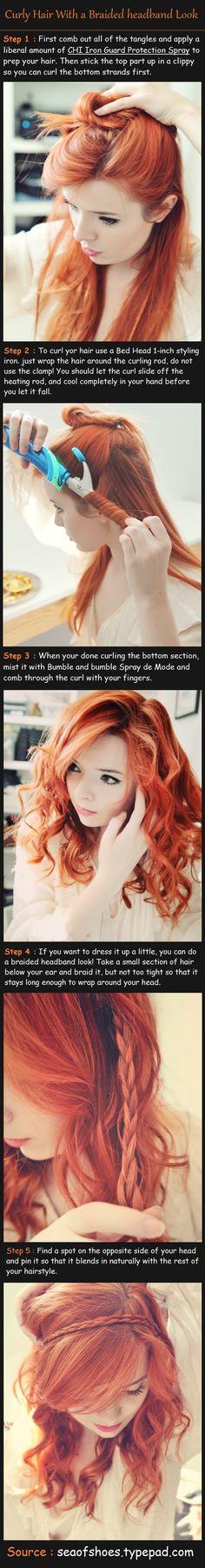 Curly Hair With a Braided headband Look