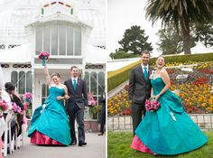 Lavinia & Phil were married at the Conservatory of Flowers in San Francisco. Lavinia wore a one-of-a-kind wedding dress in turquoise with hot pink accents by Janice Martin Couture. Photographs by Chrissy Lynn, Lovebirds Photography