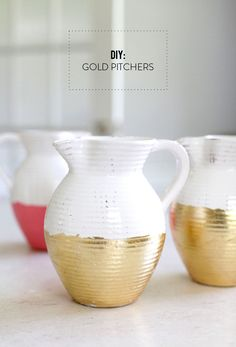 DIY Gold Pitchers  Read more - http://www.stylemepretty.com/living/2013/05/21/diy-gold-pitchers/