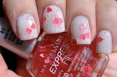Cute Nail art. Valentine's day manicure. maybelline manicure