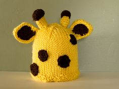 yellow knit giraffe hat for babies