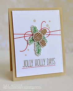 Lawn Fawn - Deck the Halls + coordinating dies, Stitched Rectangle Stackables _ gorgeous CAS card by Kay at My Joyful Moments: Festive Friday #42