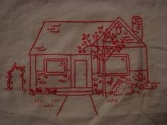 Tutorial for turning your family home photo into a redwork embroidery ~ so clever and would make a lovely heirloom gift.