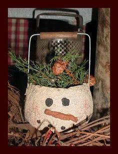 Primitive paper mache snowman bucket