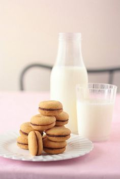Peanut Butter Sandwich Cookies with Milk Chocolate Filling