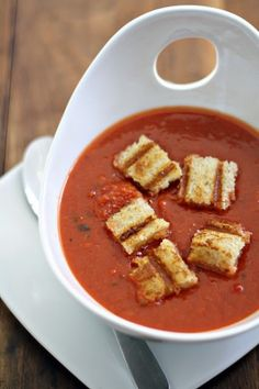 Roasted Tomato Soup with grilled cheese croutons on sourdough bread//