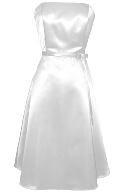 50s Strapless Satin Formal Bridesmaid Prom Dress | Junior Plus Size Prom Dresses