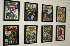 Thrifty Decorating - Boys Superhero Room boy's superhero room, boy bedrooms, big boys, comic books, thrifti decor, boy nurseri, book covers, little boys rooms, big boy rooms