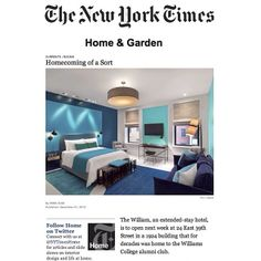 Did you catch @The William's debut in The New York Times? Read more here: http://nyti.ms/1bEqObw