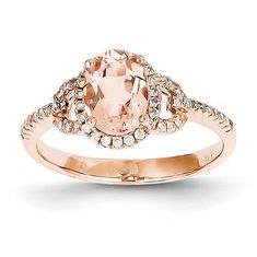 Unique Morganite Diamond Oval Halo Antique Vintage Engagement Ring 14K Rose Gold